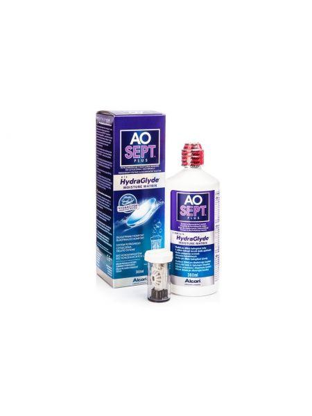 Раствор Aosept Plus HydraGlyde 360 мл + контейнер с АОдиском